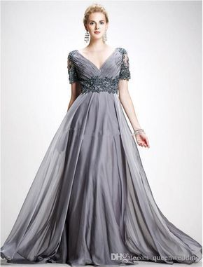 a65f7cf9621 Chic Plus Size Lace Mother Of The Bride Dresses Sleeves A Line V Neck Empire  Waist Mother Of Groom Dress Floor Length Chiffon Evening Gowns Stylish  Mother ...
