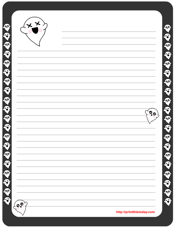 Free Printable Halloween Writing Paper Featuring Cute Ghosts  Free Printable Writing Paper