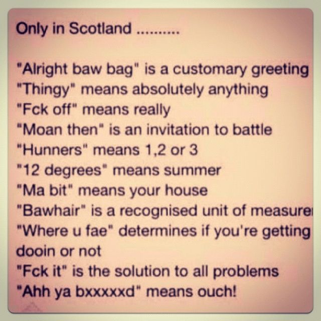 Funny Things To Say In A Scottish Accent