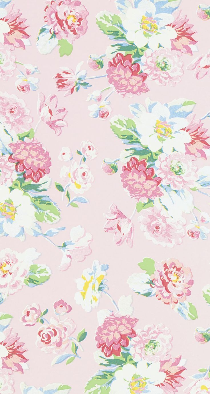 Vintage Pink White Yellow Blue Floral Iphone Wallpaper Phone Background Lock Screen