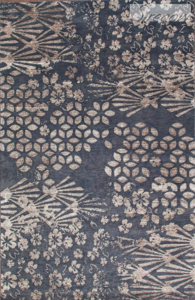Handmade wool rug with floral pattern mosaic 009 101 - Sirecom tappeti ...