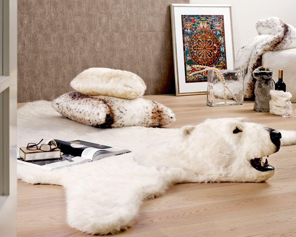 Stunning Fake Fur Polar Bear Rug With Head Bear Skin Rug Bear Rug Animal Rug