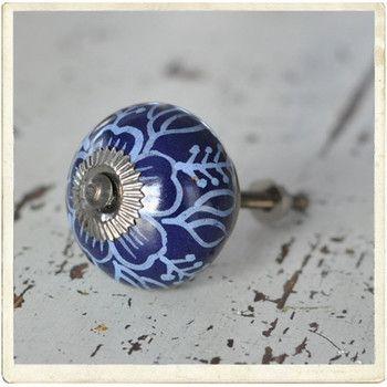 Dark blue door knob whith blue pattern