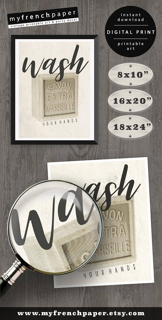 Printable Bathroom Wall Decor Wash Your Hands Printable Bathroom Art