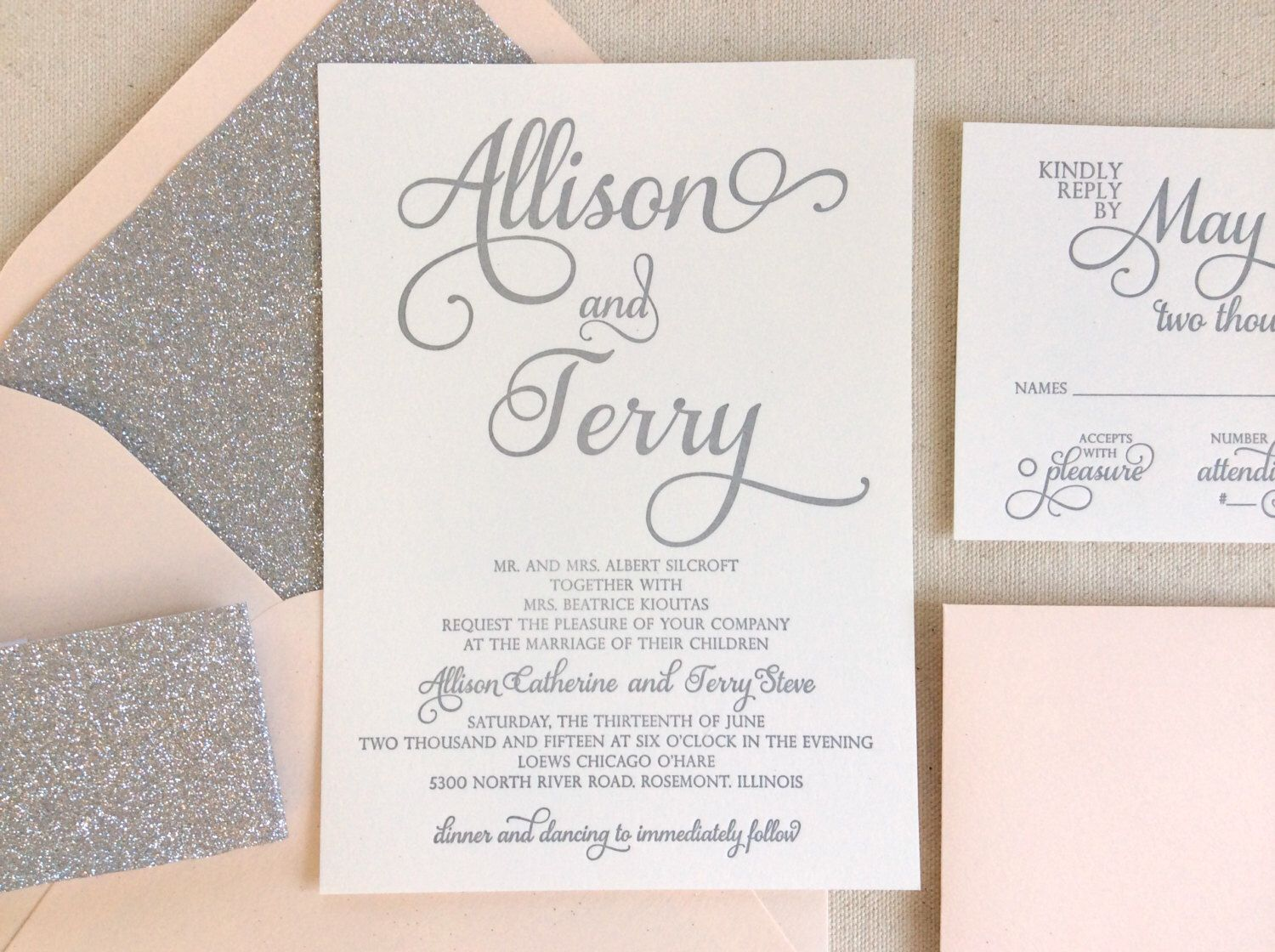 The Stargazer Suite Modern Letterpress Wedding Invitation Sample