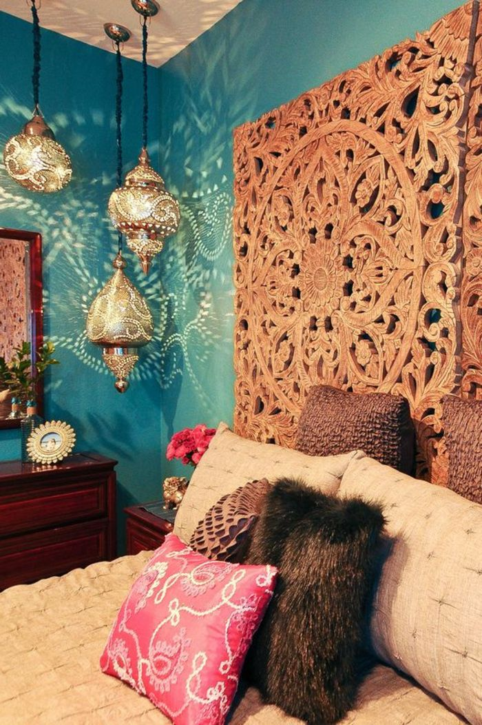 orientalische hüängelampen im schlafzimmer viele bunte kissen ...