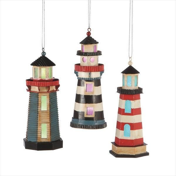 The Jolly Christmas Shop - LED Lighthouse Ornament 3 Assorted ...
