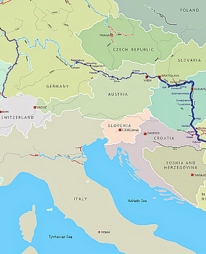 River Of Europe Map Danube Map | Danube River Byzantine Roman and Medieval Europe main