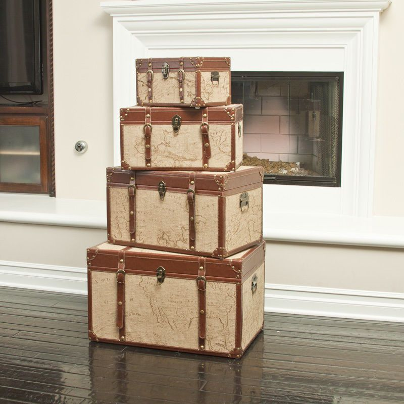 Set Of 4 Stacking Old World Map Home Decor Storage Trunks Part 66