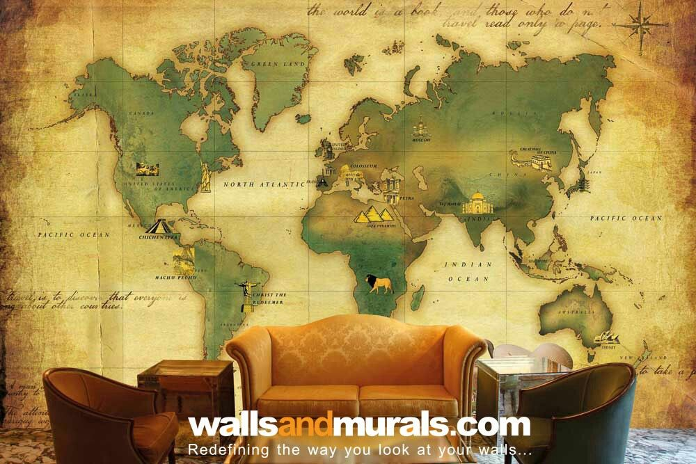 Vintage World Map Wallpaper Maps Wallpaper Pinterest