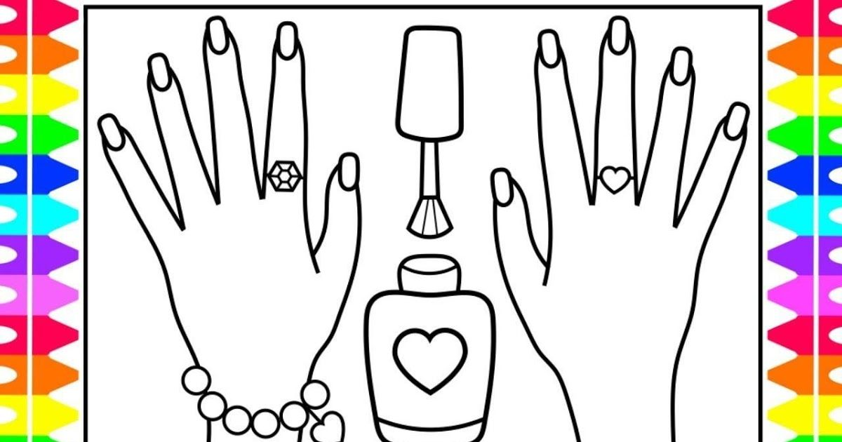 Nail Polish Coloring Pages Printable Coloring Nails For Kids Printable Nail Art Coloring Pages In 2020 Coloring Pa The Little Mermaid Nail Art Bullet Journal