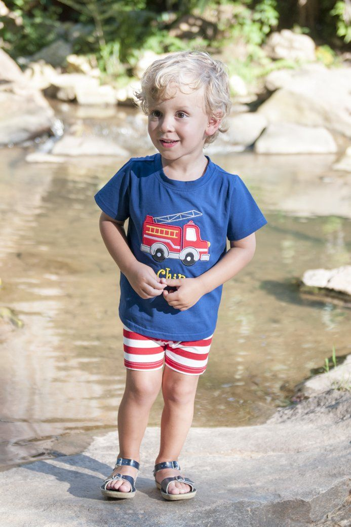 Boys Navy Monogrammable Firetruck Applique Shirt & Red Striped Knit Shorts