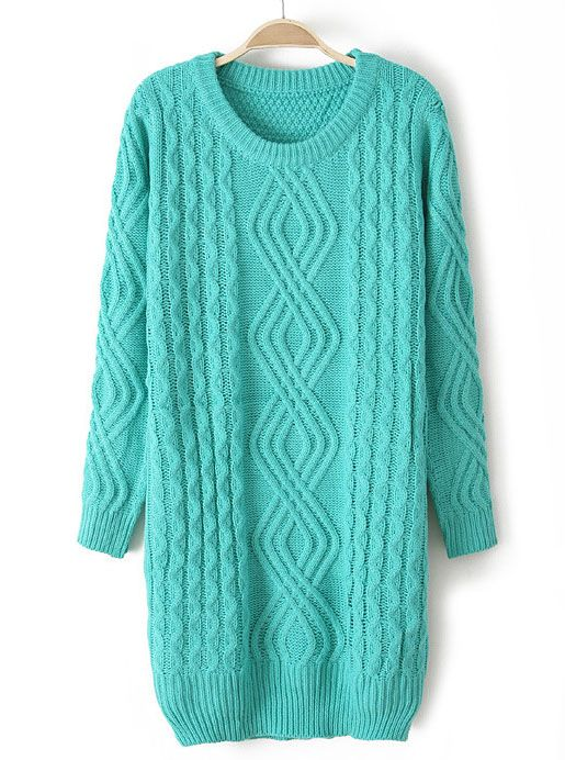 b8a84ed07c18cb Green Long Sleeve Cable Knit Loose Sweater US 33.93