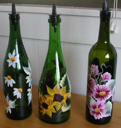 Olive Oil And Balsamic Vinegar Holders Painted Wine