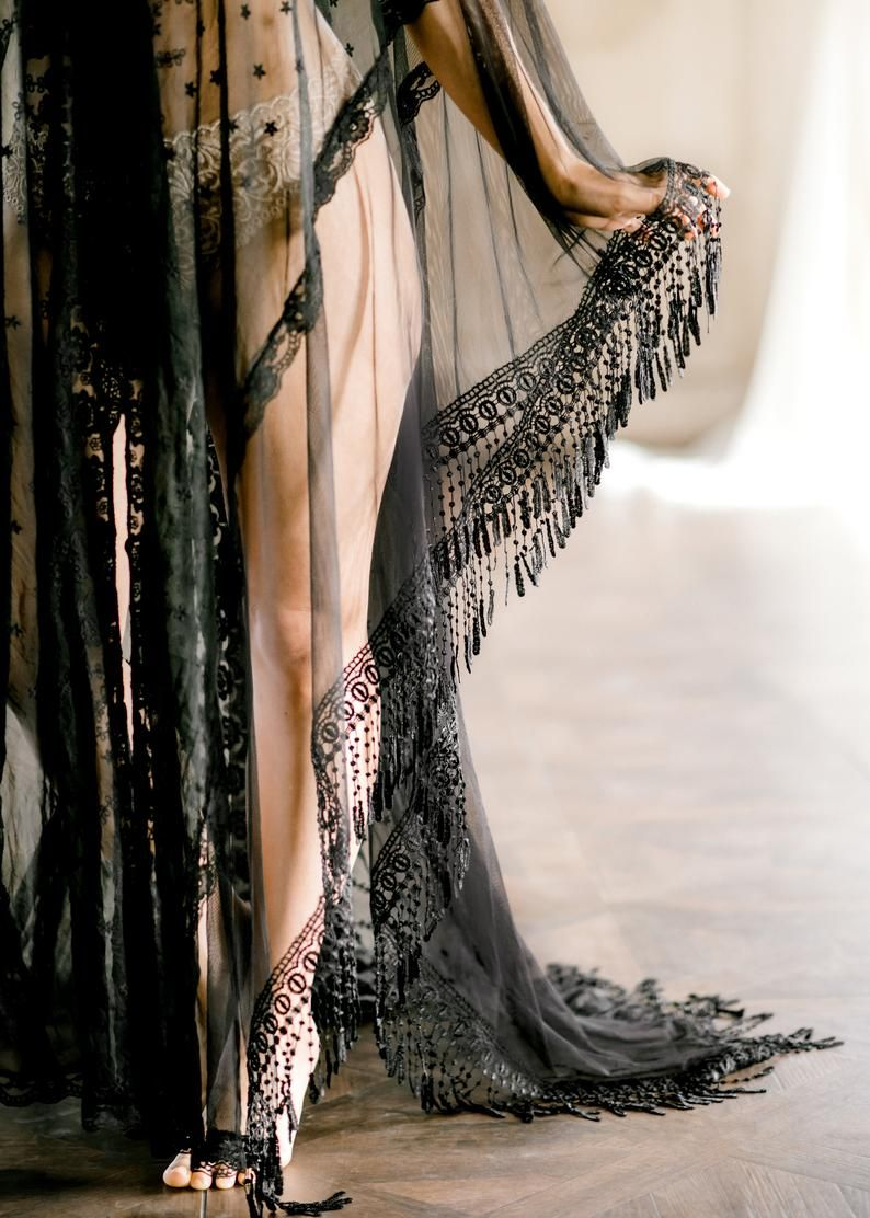 Photo of BLACK LACE CAFTAN for wedding day, boudoir photo shoot, over lingerie on your wedding night, for a maternity photo shoot, honeymoon ligerie