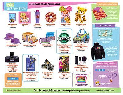 gsgla 2015 cookie program rewards girl scout cookie
