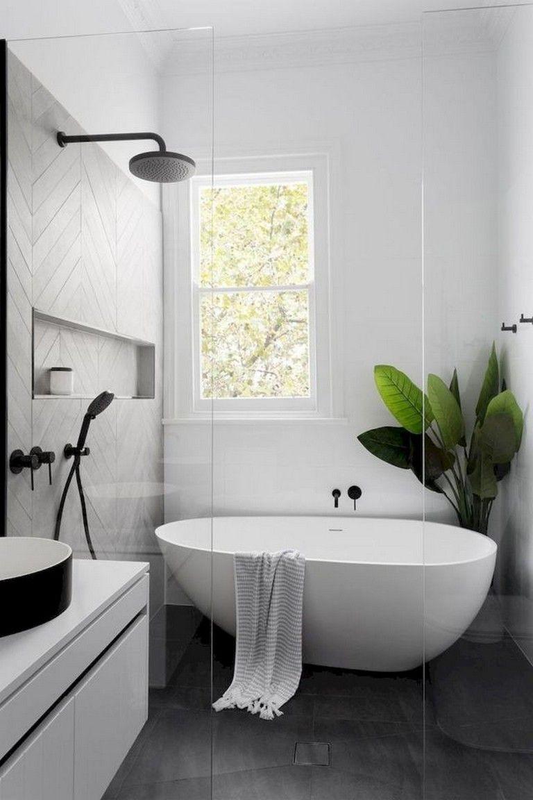 92 Beautiful Farmhouse Bathroom Remodel Decor Ideas Farmhouse Bathroomremodeling Decori Scandinavian Bathroom Design Bathtub Remodel Small Bathroom Remodel Minimalist bathroom decor idea