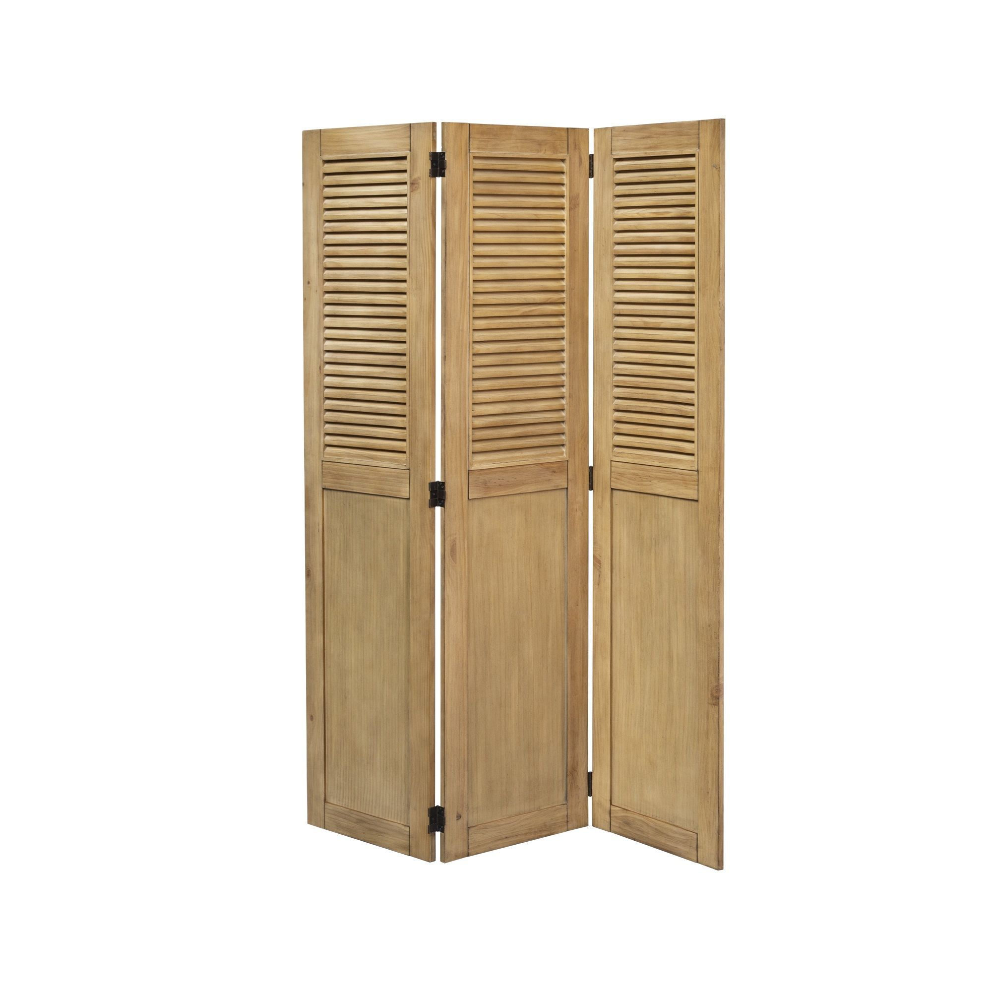 """70"""" Vintage Brown Louvered Panel Casual Wood Room Divider"""