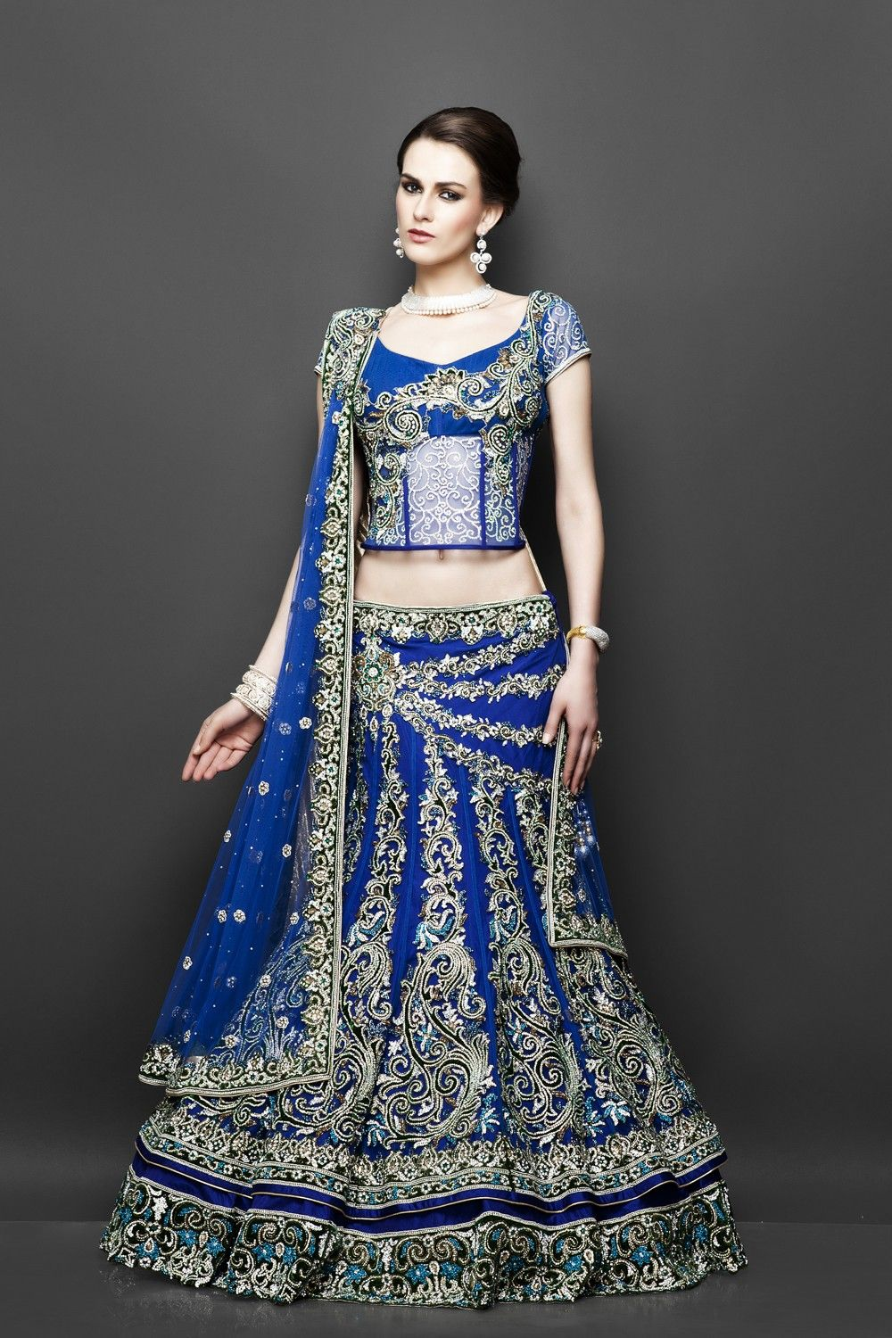Blue double layered net outfit with green velvet outfits