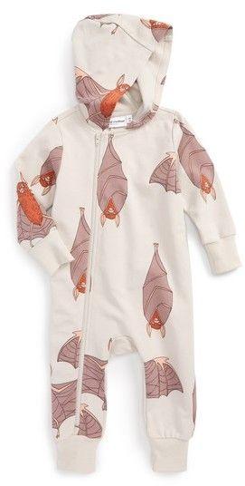 Mini Rodini Infant Boy S Bats Hooded Romper Earth Warm