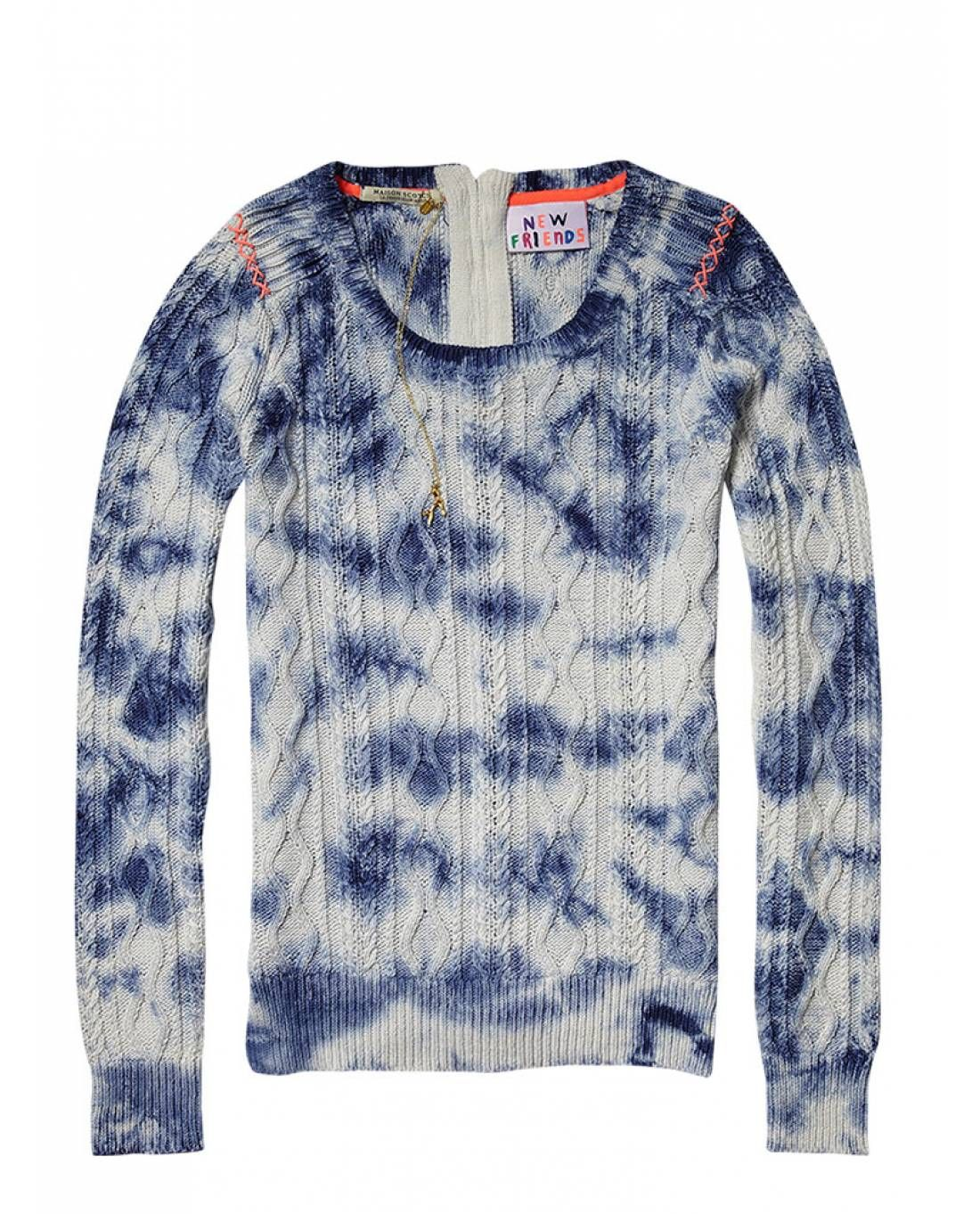 Cable knit with tie-dye effect and braided cord - Neon Surf by Maison Scotch