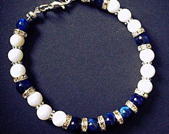 Bracelet LADY bleu blanc argent strass perle en pierre naturelle