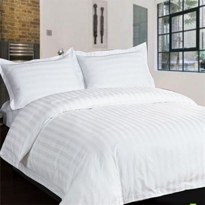 100/% Cotton Satin Stripe weaving Cotton Bed Sheet Set 4 Piece bedding set