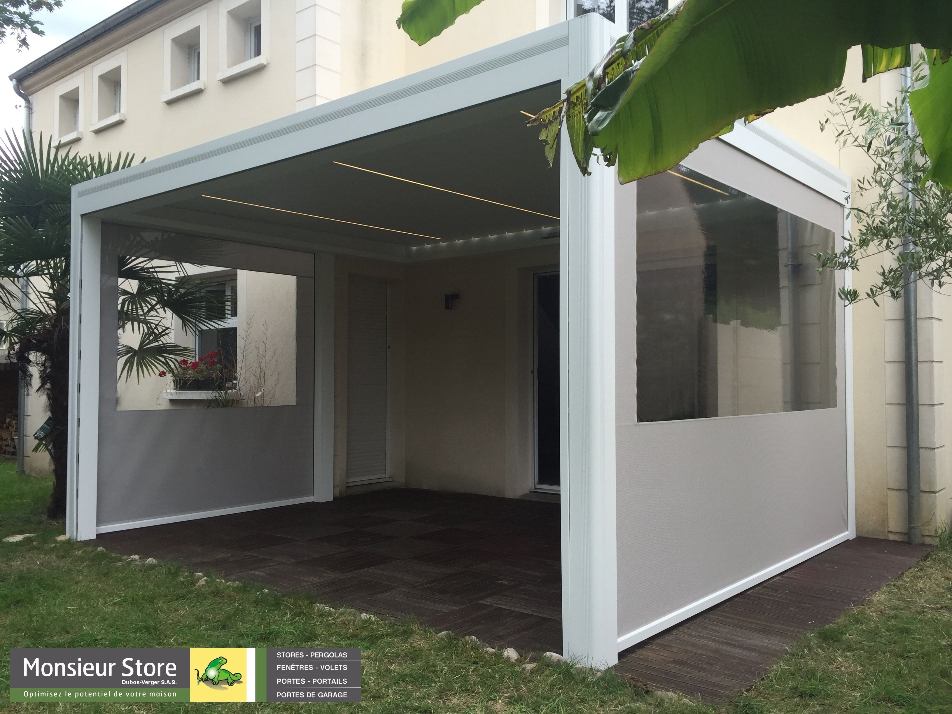 Pergola bioclimatique Hardtop plus coloris blanc de 3500 mm x