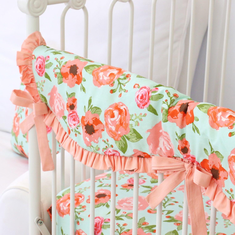 Hadlees Mint Coral Floral Bumperless Crib Bedding