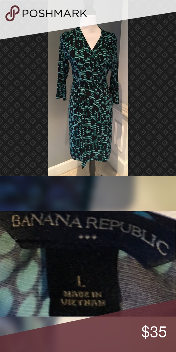 Turquoise & Black Wrap Dress Turquoise & Black Wrap Dress Banana Republic Dresses