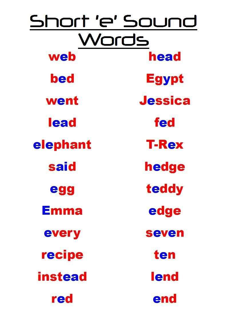 Short E Words Short E Sound Words Short E Words Short E Sound Sound Words
