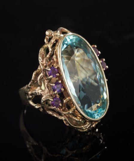 14 Kt. Yellow Gold, Aquamarine and Amethyst Ring