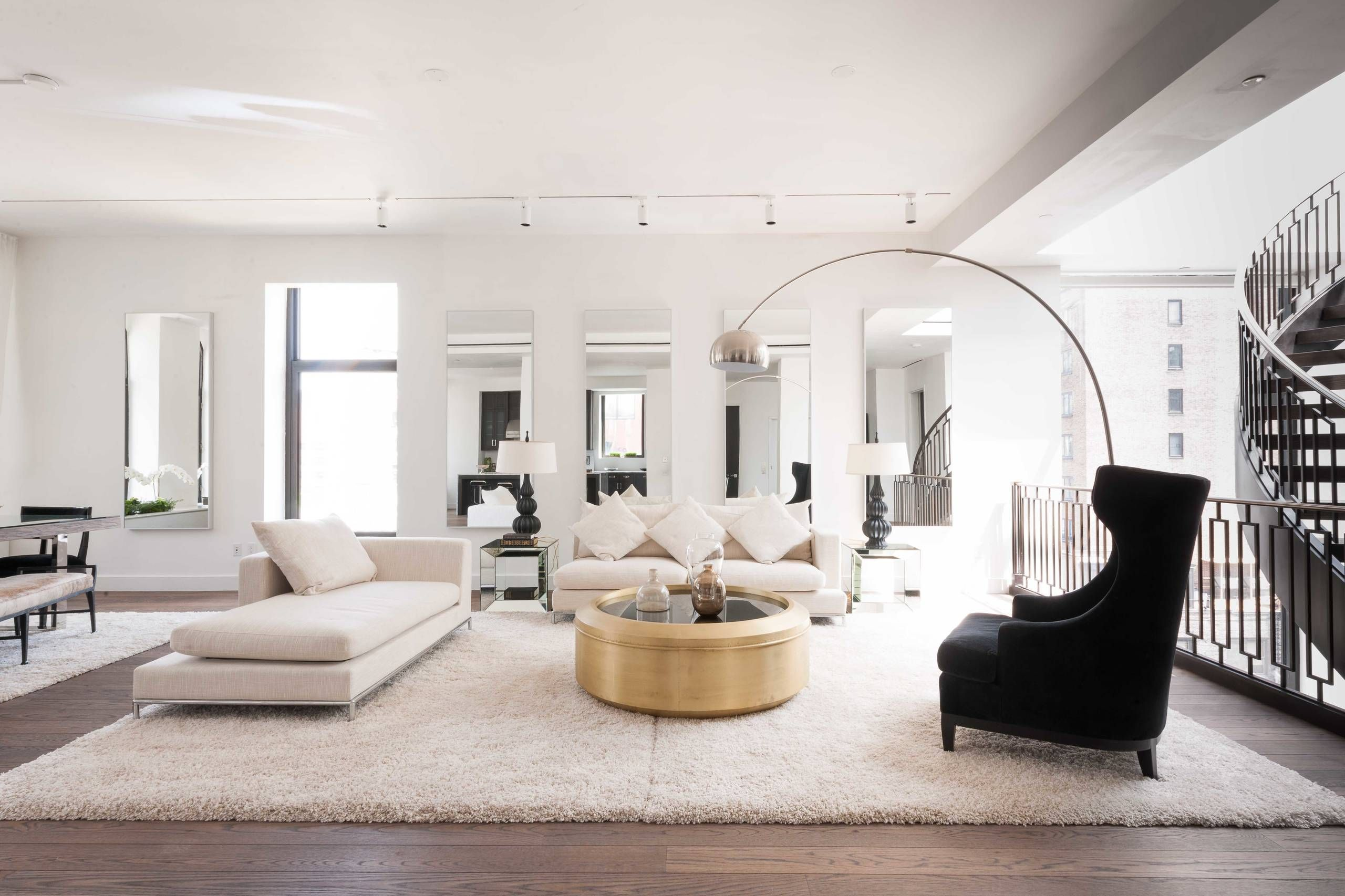 East 11th Street Penthouse By Delos Gold Living Room Gold Living Room Decor White Living Room Decor