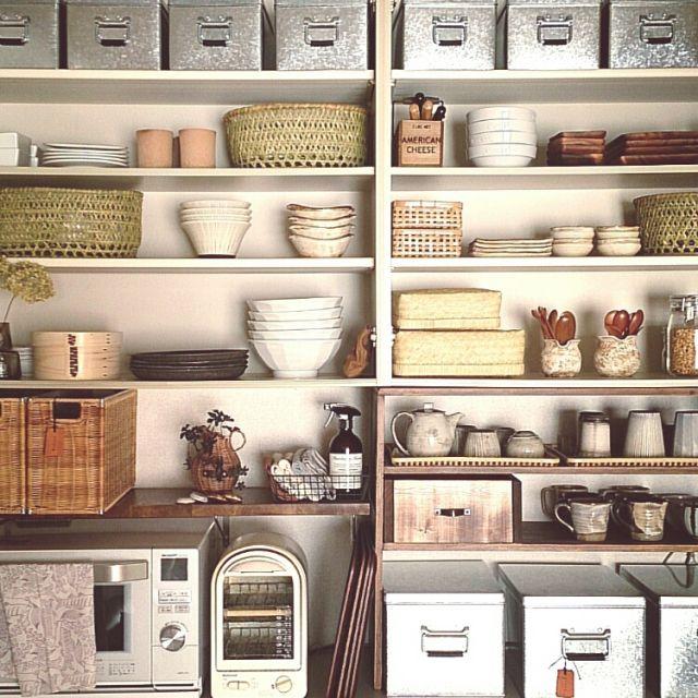 Kitchen,無印良品,食器棚,和食器,椀かご,おひつ,