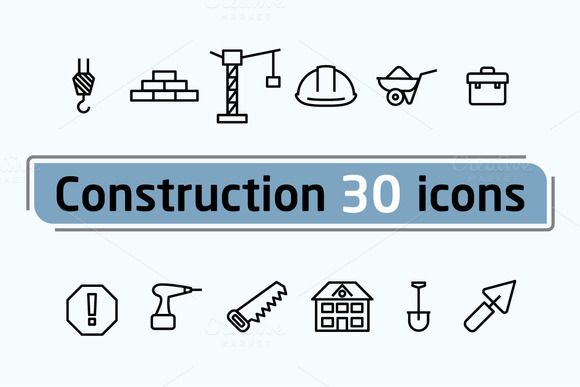 Construction icons by Leone_v on @creativemarket