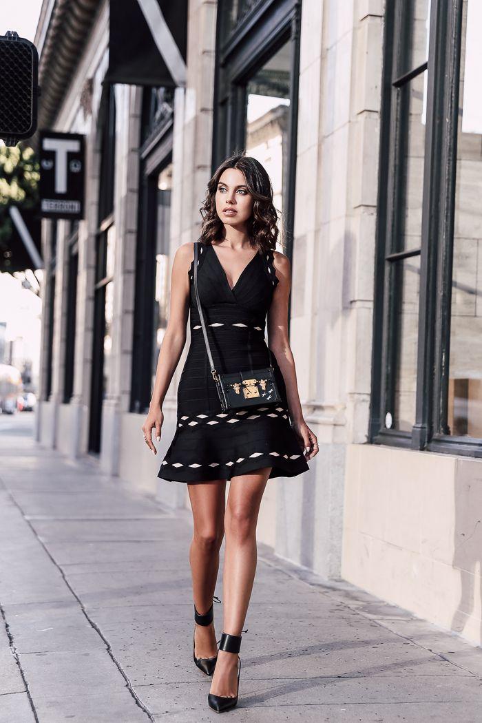 VivaLuxury - Fashion Blog by Annabelle Fleur: HERVÉ LÉGER :: LITTLE BLACK DRESS - HERVE LEGER dress   OLGANA PARIS pumps   LOUIS VUITTON Petite Malle bag October 14, 2016
