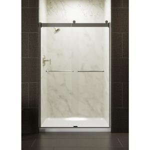 VIGO Elan 56 to 60 in. x 74 in. Frameless Sliding Shower Door in Chrome with Frosted Glass and Handle #framelessslidingshowerdoors