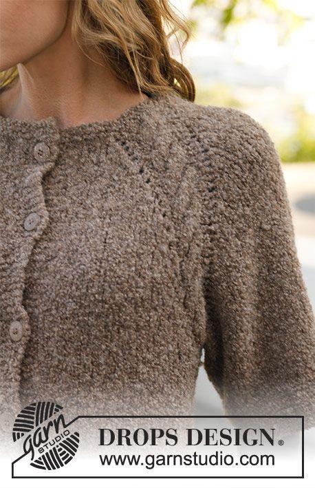 Casaco DROPS, raglan e mangas ¾, em Alpaca Bouclé, tricotado de cima ...