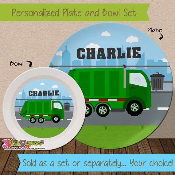 Garbage Truck Plate and Bowl Set - Personalized Melamine Children Plate Cereal Bowl - Kids Dishes : personalized plastic plates for kids - pezcame.com
