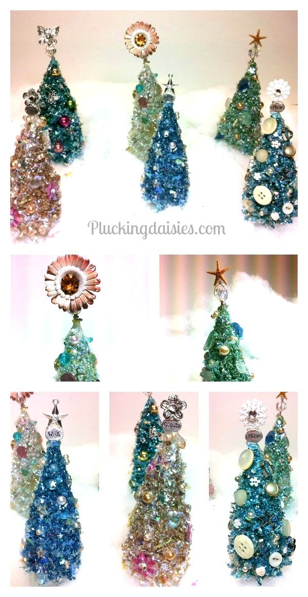 Bottle Brush Trees with Vintage Buttons @PluckingDaisy #christmas