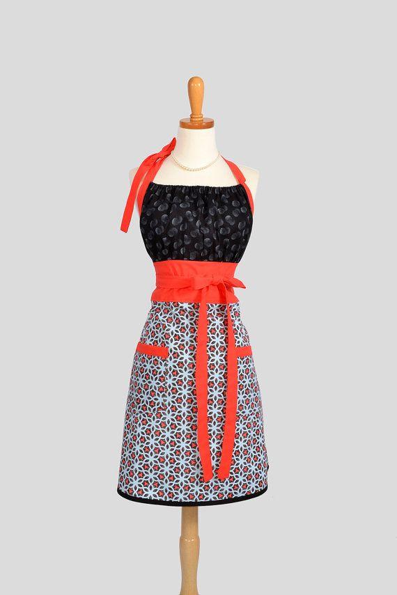 cute kitchen aprons buy cabinets kitsch retro apron full chef style womens handmade ty pennington