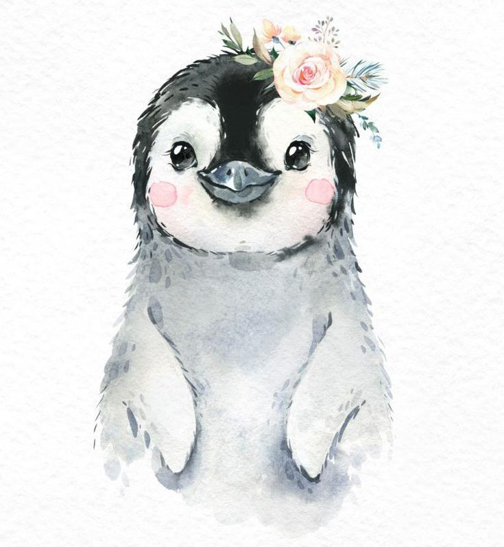 Snowy Penguin Snow Leopard Polar Bear Watercolor little animals clipart baby white portrait Arctic Winter flower kid nursery art baby-shower