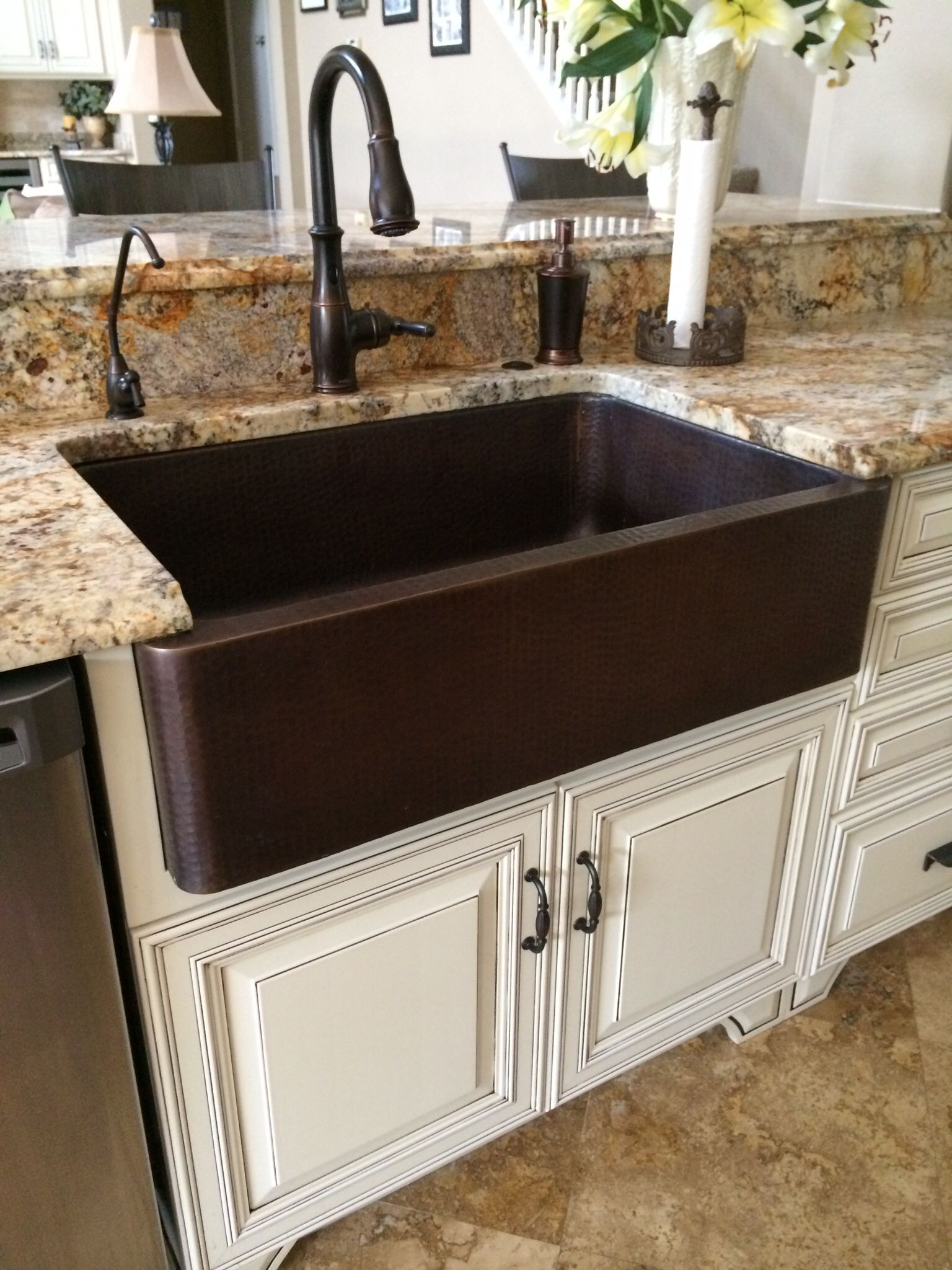 charming Oil Rubbed Bronze Faucet Kitchen #9: Hammered copper farm sink, moen oil rubbed bronze touch less faucet.