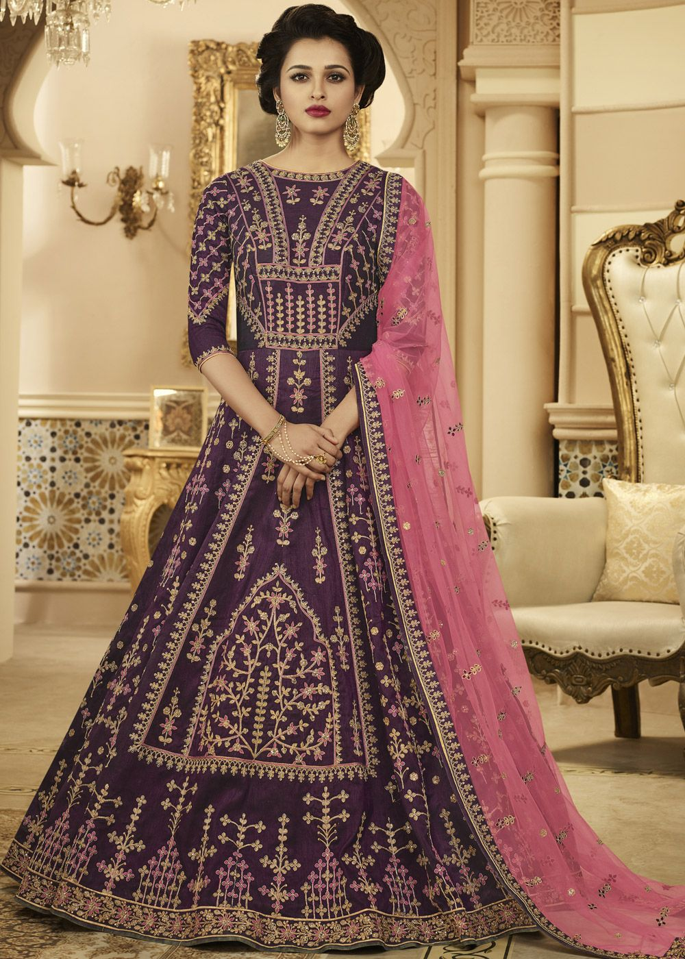 498e3299d7 Showcasing a purple floor length anarkali kameez in silk beautified with  zari cord and resham embroidery work all over it enhanced by sparkly stone  ...