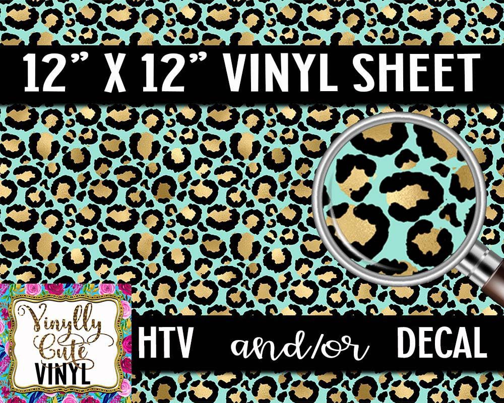 Turquoise Leopard Vinyl Sheet Htv Or Decal 12 X Etsy In 2020 Vinyl Sheets Vinyl Adhesive Vinyl