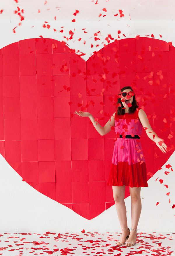 giant paper heart backdrop oh happy day - Valentines Backdrops