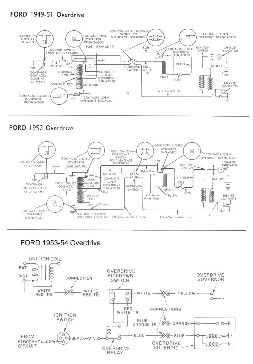 wiring for 1949-54 ford car overdrive | wiring | pinterest ... 1952 ford directional wiring