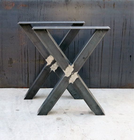 Pieds De Table En Metal De Forme Industrielle X 3 X 3 Etsy Metal Table Legs Table Legs Metal Table