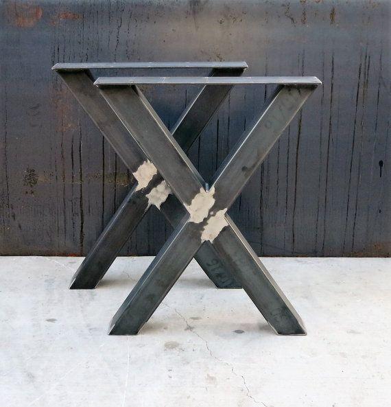 Industrial X Shape Metal Table Legs 3x3 Pied De Table Pied De