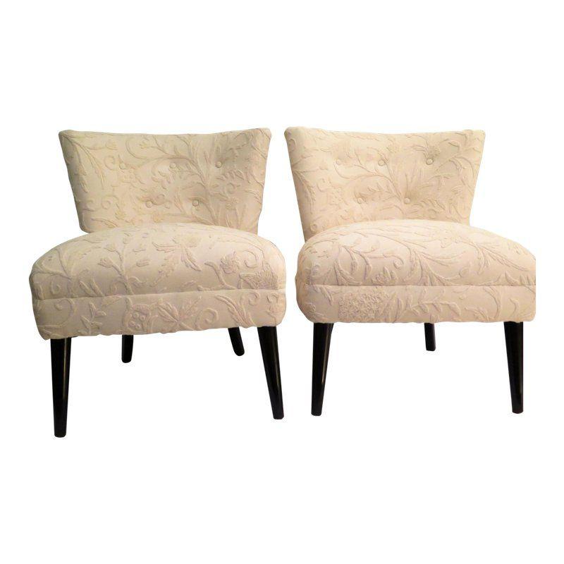 Kroehler Accent Chair Elan Key Pattern: 1950's Vintage Kroehler Slipper Chairs- A Pair